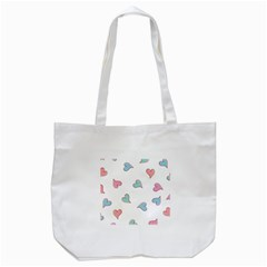 Colorful Random Hearts Tote Bag (white)