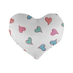 Colorful Random Hearts Standard 16  Premium Flano Heart Shape Cushions by Nexatart