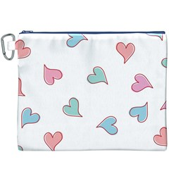 Colorful Random Hearts Canvas Cosmetic Bag (xxxl) by Nexatart
