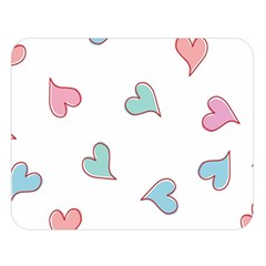 Colorful Random Hearts Double Sided Flano Blanket (large)