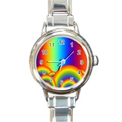 Background Rainbow Round Italian Charm Watch by Nexatart
