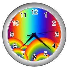 Background Rainbow Wall Clocks (silver)  by Nexatart