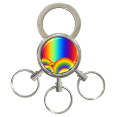 Background Rainbow 3 Ring Key Chains