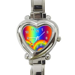 Background Rainbow Heart Italian Charm Watch