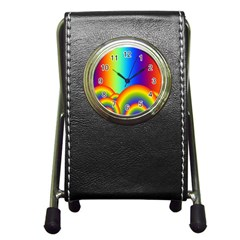 Background Rainbow Pen Holder Desk Clocks by Nexatart