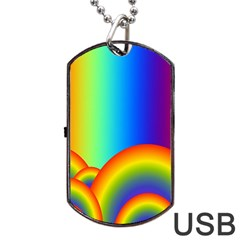 Background Rainbow Dog Tag Usb Flash (two Sides) by Nexatart