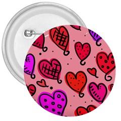Valentine Wallpaper Whimsical Cartoon Pink Love Heart Wallpaper Design 3  Buttons by Nexatart