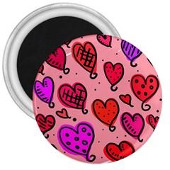 Valentine Wallpaper Whimsical Cartoon Pink Love Heart Wallpaper Design 3  Magnets by Nexatart