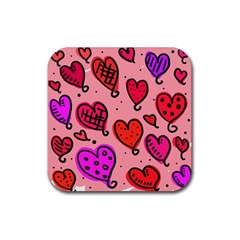Valentine Wallpaper Whimsical Cartoon Pink Love Heart Wallpaper Design Rubber Coaster (square)