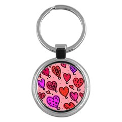 Valentine Wallpaper Whimsical Cartoon Pink Love Heart Wallpaper Design Key Chains (round)  by Nexatart