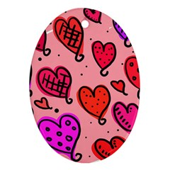 Valentine Wallpaper Whimsical Cartoon Pink Love Heart Wallpaper Design Oval Ornament (two Sides) by Nexatart