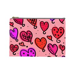 Valentine Wallpaper Whimsical Cartoon Pink Love Heart Wallpaper Design Cosmetic Bag (large)