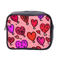 Valentine Wallpaper Whimsical Cartoon Pink Love Heart Wallpaper Design Mini Toiletries Bag 2 Side by Nexatart