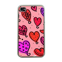 Valentine Wallpaper Whimsical Cartoon Pink Love Heart Wallpaper Design Apple Iphone 4 Case (clear) by Nexatart