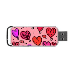 Valentine Wallpaper Whimsical Cartoon Pink Love Heart Wallpaper Design Portable Usb Flash (one Side) by Nexatart