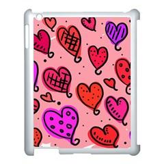 Valentine Wallpaper Whimsical Cartoon Pink Love Heart Wallpaper Design Apple Ipad 3/4 Case (white) by Nexatart