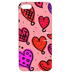 Valentine Wallpaper Whimsical Cartoon Pink Love Heart Wallpaper Design Apple Iphone 5 Hardshell Case With Stand by Nexatart