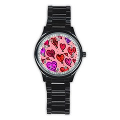 Valentine Wallpaper Whimsical Cartoon Pink Love Heart Wallpaper Design Stainless Steel Round Watch by Nexatart