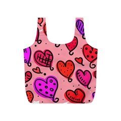 Valentine Wallpaper Whimsical Cartoon Pink Love Heart Wallpaper Design Full Print Recycle Bags (s)  by Nexatart
