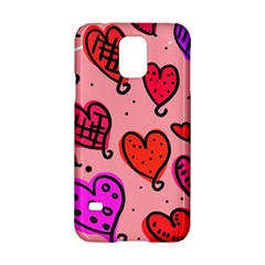 Valentine Wallpaper Whimsical Cartoon Pink Love Heart Wallpaper Design Samsung Galaxy S5 Hardshell Case  by Nexatart