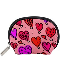 Valentine Wallpaper Whimsical Cartoon Pink Love Heart Wallpaper Design Accessory Pouches (small)  by Nexatart