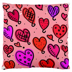 Valentine Wallpaper Whimsical Cartoon Pink Love Heart Wallpaper Design Standard Flano Cushion Case (one Side)