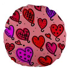 Valentine Wallpaper Whimsical Cartoon Pink Love Heart Wallpaper Design Large 18  Premium Flano Round Cushions by Nexatart