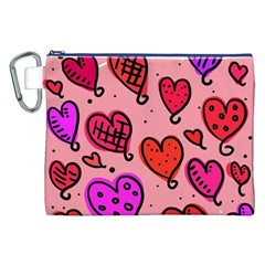 Valentine Wallpaper Whimsical Cartoon Pink Love Heart Wallpaper Design Canvas Cosmetic Bag (xxl) by Nexatart