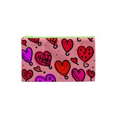 Valentine Wallpaper Whimsical Cartoon Pink Love Heart Wallpaper Design Cosmetic Bag (xs) by Nexatart