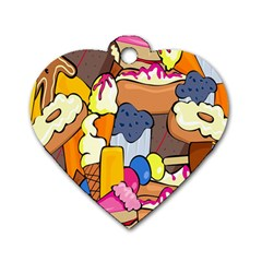 Sweet Stuff Digitally Food Dog Tag Heart (two Sides)