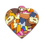 Sweet Stuff Digitally Food Dog Tag Heart (Two Sides) Front