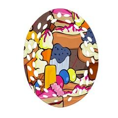 Sweet Stuff Digitally Food Oval Filigree Ornament (two Sides) by Nexatart