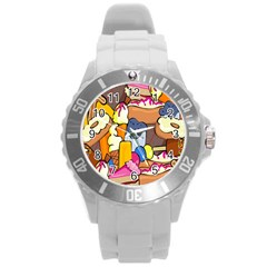 Sweet Stuff Digitally Food Round Plastic Sport Watch (l) by Nexatart