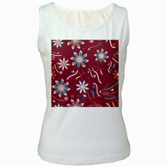 Floral Seamless Pattern Vector Women s White Tank Top