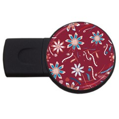Floral Seamless Pattern Vector Usb Flash Drive Round (4 Gb)