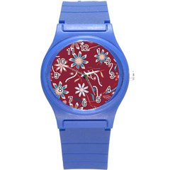 Floral Seamless Pattern Vector Round Plastic Sport Watch (s) by Nexatart