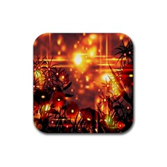 Summer Evening Rubber Square Coaster (4 Pack)  by Nexatart