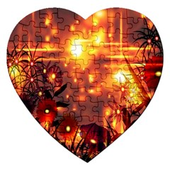 Summer Evening Jigsaw Puzzle (heart) by Nexatart