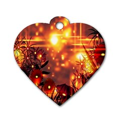 Summer Evening Dog Tag Heart (one Side) by Nexatart