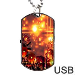 Summer Evening Dog Tag Usb Flash (one Side) by Nexatart