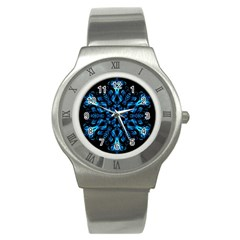 Blue Snowflake Stainless Steel Watch by Nexatart