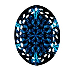 Blue Snowflake Oval Filigree Ornament (two Sides)