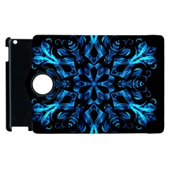 Blue Snowflake Apple Ipad 2 Flip 360 Case by Nexatart