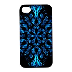 Blue Snowflake Apple Iphone 4/4s Hardshell Case With Stand