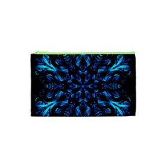 Blue Snowflake Cosmetic Bag (xs) by Nexatart