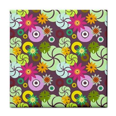 Floral Seamless Pattern Vector Tile Coasters