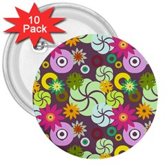 Floral Seamless Pattern Vector 3  Buttons (10 Pack)  by Nexatart