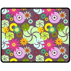 Floral Seamless Pattern Vector Double Sided Fleece Blanket (medium)