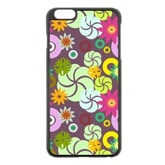 Floral Seamless Pattern Vector Apple Iphone 6 Plus/6s Plus Black Enamel Case by Nexatart
