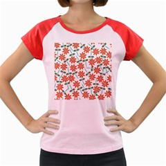 Floral Seamless Pattern Vector Women s Cap Sleeve T Shirt